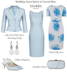 Hobbs crystal blue Mother of the Bride shift dress and matching jacket outfit occasion dresses and wedding guest outfits