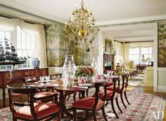 Traditional Dining Room by Cullman & Kravis Inc. and Botticelli & Pohl in Nantucket, Massachusetts