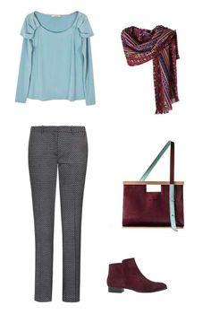 Top azul de Coosy, pantalón de Esprit, botines granate de Gadea, bolso de Winilafabrics y pañuelo es... - MujerHoy