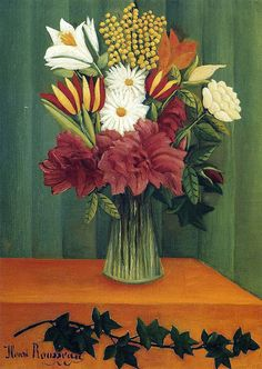 Henri Rousseau: Bouquet of flowers with an ivy branch (1909)