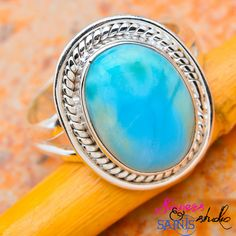 SZ 8 Captivating Genuine Rare Larimar .925 SS Ring. Starting at $10 on Tophatter.com!