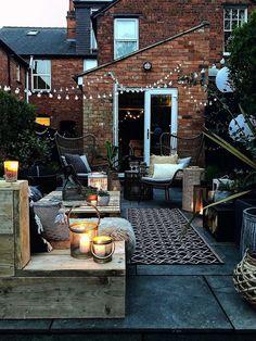 Outside Living, Outdoor Living, Outdoor Decor, Indoor Outdoor, Small Outdoor Patios, Outdoor Hanging Lights, Outside Patio, Terrace Garden Design, Balcony Garden