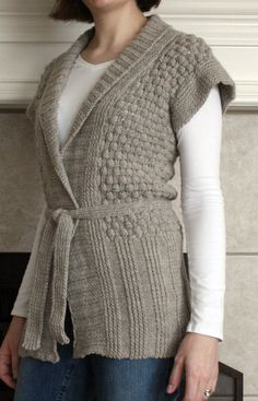 "Knitting Pattern for Berry and Bramble Cardigan - Cozy shawl collared vest knit with berry in a box lace pattern. Sizes 28½ (33, 34, 37½, 43)"". Aran weight yarn. Designed by Mary Gehling. Pictured project by mleknits"