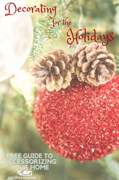 Decorating your home for the holidays. Use your ornaments, pine cones, tinsel, plants and floral arrangements.