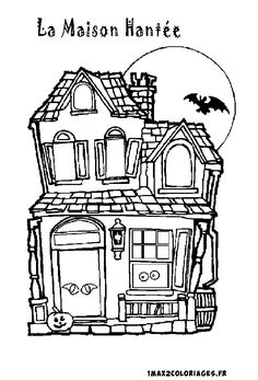 Haunted house coloring page clipart digi stamps color pages pinterest haunted houses - Maison hantee dessin ...
