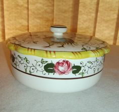 EARLY PROVINCIAL ROOSTER & ROSES COVERED DISH CONDIMENTS VANITY JEWELRY BOX EUC