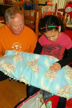 We made Haley a Hello Kitty blanket.  2012