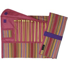 Enjoy this attractive case to store your favorite knitting needlesKnitting accessory boasts a colorful design with a Velcro closure Needlework set makes a great gift