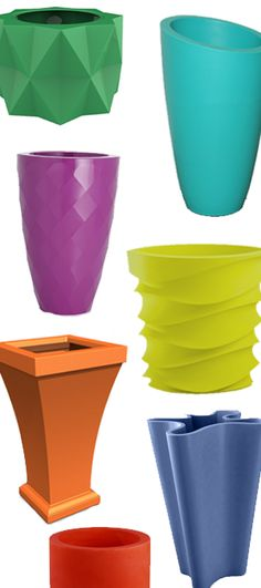 Colorful indoor/outdoor planters that come in a wide variety of shapes and sizes. Add a pop of color to your garden, house, or patio!