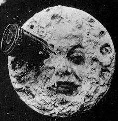 First movie of Verne's Earth-to-Moon, rocket in the eye.