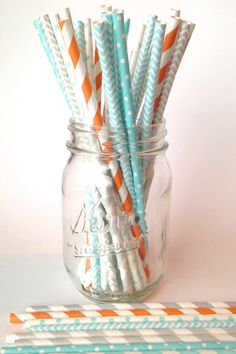 25 Turquoise blue Teal Orange and Silver by Twigsandtwirlsllc