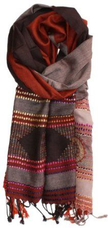 LibbySue-Silk Blend Pashmina Shawl Woven in India with Embroidered Borders in Tonal Browns LibbySue. $29.99