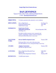 high school student resume objective examples - Example Resume For High School Graduate