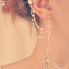 1PC-CHIC-WOMENS-TASSEL-CHAIN-METALLIC-LEAF-FISH-CROSS-EAR-STUD-WRAP-CUFF-EARRING