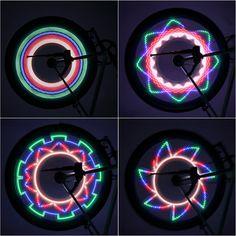 2017 Hot đôi bên Đầy Màu Sắc Đèn Xe Đạp Bike Xe Đạp Wheel Nói Ánh Sáng 32 LED pattern Waterproof vận chuyển miễn phí