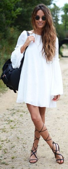 White Shift Dress # Trends Of Summer Apparel Look Fashion, Runway Fashion, Womens Fashion, Fashion Tips, Fashion Design, Fashion Trends, Summer Outfits, Cute Outfits, Beautiful Outfits