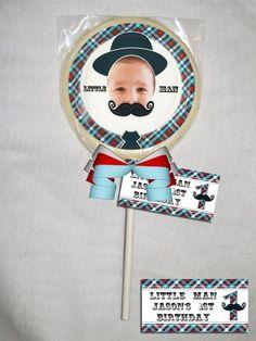 Little Man Mustache Personalized Chocolate Lollipop or Cookie Favor