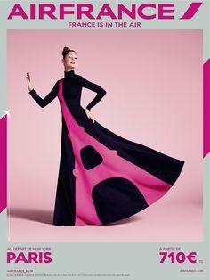 #airfrance #campaign #pink #eiffeltower #dress #flight