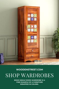 Boho single door wardrobe is a fine example of a furniture wrapped in colors. It has two drawers below with a cupboard on top. This cupboard is carved with Bohemian tiles embossed upon it. A combination of fabulous wooden finish with color pops of Bohemian tiles makes it a finely embellished wooden furniture. This furniture is made with sheesham wood.  It is available in three finishes of honey, teak and walnut finish. Single Door Wardrobe, Wardrobe Closet, Wooden Furniture, Bedroom Furniture, Solid Wood Wardrobes, Wooden Street, Wooden Wardrobe, Clutter Free Home, Single Doors