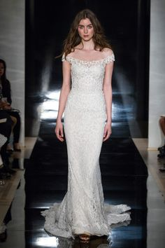 Reem Acra off-the-shoulder lace wedding gown - click through to see the full bridal collection
