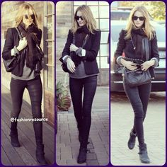 ROSIE wearing a pair of coated black denim, a cozy grey sweater, black scarf, topped these pieces off with a simple black blazer, a black bag with chain strap a pair of Ray-Ban Wayfarers and then finished things off with a pair of black motorcycle ankle boots#Rosiehuntingtonwhiteley #victoriassecret #fashion #instafashion #fashionblogger #glam #fashionstyle #fashionalble #fashioninsta #elegant #love #beauty #styles #style #stylish #instastyle #hair #makeup #nails #outfit #purse #beautiful…