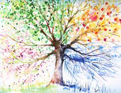 seasons --- all represented somehow on a tree - Grade 1 art connected to Science - Daily and SEasonal Changes
