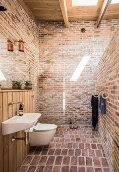 Stone bathroom in a round house in Denmark