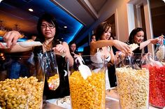 Popcorn Bar at Wedding--This might be a good idea for people to snack on while they wait for the bridal party to show at the reception. Or good party food.