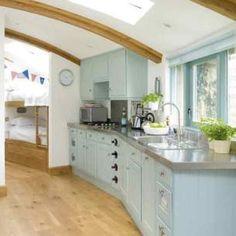 Duck egg blue kitchen. I wonder if this is ASCP? Kitchen Home Decor