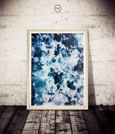 Abstract Ocean Wave Art BLUE Wall Decor Print Aquatic Print