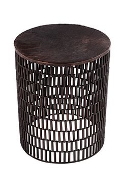 FOREIGN AFFAIRS HOME DECOR BULLET Bronze Metal Table with Brown Cow Hide Covered Top -- See this great product. (This is an affiliate link) #HomeDecorArtificialPlants