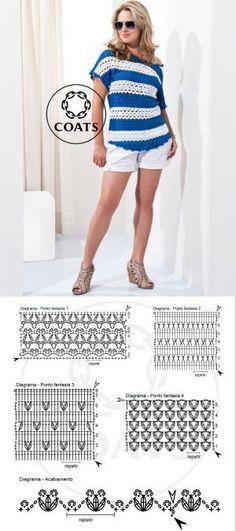 Crochet blue and white blouse ...♥ Deniz ♥