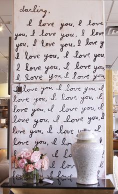 """each year get my husband to write 1 """"i love you"""" on our anniversary. see how his hand writting changes and it represent our life together  I love you art work 