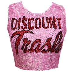 'DI$COUNT TRA$H' BABY PINK LOGO CROP DI$COUNT UNIVER$E (€73) ❤ liked on Polyvore featuring tops, shirts and crop tops