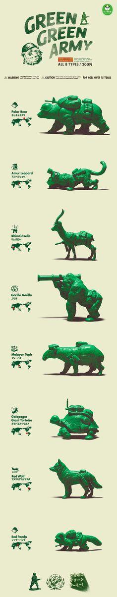 動物化身為綠色小兵!「熊貓之穴」新作『Green Green Army』! | 玩具人Toy People News