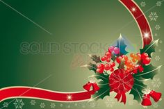stock illustration of background with christmas arrangement of holly held together by red golden ribbon vector illustration