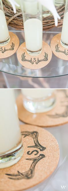 Another great shot of a simple woodland wedding DIY: Custom Antler Stamped Cork Coasters! http://www.weddingstar.com/product/woodland-pretty-personalized-monogram-antler-textured-rubber-stamp