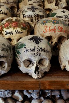 Decorated skulls in the Chapel of St Michael's ossuary, Hallstatt, Austria. Photo by Dr. Paul Koudounaris