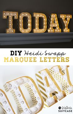 Hey guys! Nat here (the sister who hasn't been around on the blog much lately!) I finally found the time to squeeze in some projects and these Marquee Letters were first on my list. They are gold and glittery and pretty darn amazing, I think! Have you seen these fun light-up Marquee Letters around blogland?...Read More »
