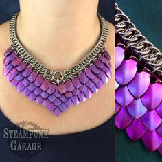 Violet TITANIUM Scalemail Goddess Chainmaille Necklace - SMALL scales - with stainless steel Half-Persian 4 in 1 Chainmaille, Wire Jewelry, Jewelry Crafts, Jewellery, Seashell Jewelry, Scale Mail, Dragon Costume, Dragon Scale, Maquillage Halloween