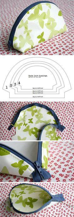 Sew Dumpling Zipper Pouch Tutorial http://www.free-tutorial.net/2016/12/dumpling-zipper-pouch-tutorial.html