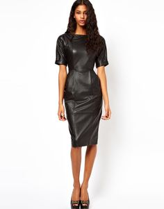 Leather trend in full effect. #leather #dress #fashion