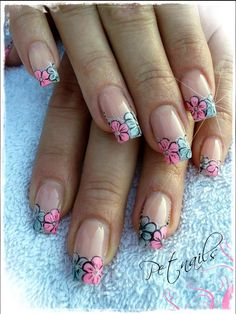 Pink & blue flowers on clear nail