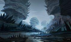 Alien World, Jorge Jacinto Fantasy Art Landscapes, Fantasy Landscape, Landscape Art, Space Fantasy, Fantasy World, Environment Concept Art, Environment Design, Psy Art, Alien Planet