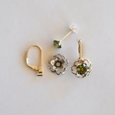 Green Silver Earring Jacket Set - Includes Green Cubic Zirconia Posts, Silver Flower Style Earring Jacket & Earring Convertible by EarringConvertiblez, $15.00