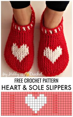 Heart & Sole Slippers These pretty and cozy heart slippers are crocheted using post stitches, that create a thick and warm knit-look texture. They are quick and easy to work up; you can crochet them up in a couple of hours. This pattern could become you Crochet Slipper Pattern, Crochet Slippers, Crochet Patterns, Stitch Patterns, Knitting Patterns, Spa Slippers, Crochet Woman, Diy Crochet, Crochet Hats