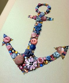 Button Art Swarovski Crystal Delta Gamma Anchor by BellePapiers Fun Crafts, Diy And Crafts, Crafts For Kids, Arts And Crafts, Button Art, Button Crafts, Jewelry Crafts, Jewelry Art, My Planner Colibri