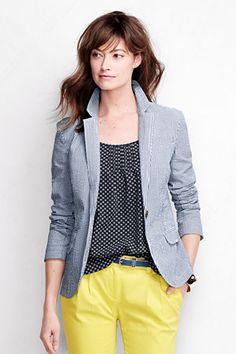 Women's Long Sleeve Seersucker Blazer Jacket from Lands' End