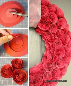 DIY: rose wreath.  I can see making this on a much smaller scale, in a paler pink.