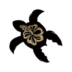 """Step into the tropics with the Hawaiian turtle tattoo! The flower on it's back is the hibiscus flower, native to the Pacific Islands and represents delicate beauty. Black and gold. Sheet Size: 2"""" x 2"""""""